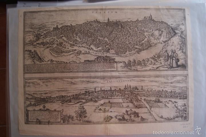 GRABADO DOBLE VALLADOLID Y TOLEDO MAPA CIUDADES 1572 - 1618 LIBRO BRAUN HOGENBERG (Arte - Grabados - Antiguos hasta el siglo XVIII)