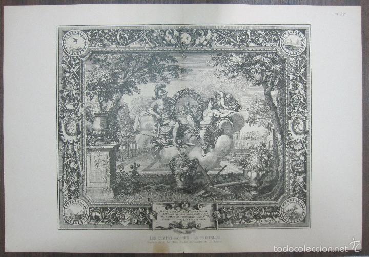 LES QUATRE SAISONS. LE PRINTEMPS. LEBRUN. 34,5 X 64,5 CM (Arte - Grabados - Antiguos hasta el siglo XVIII)