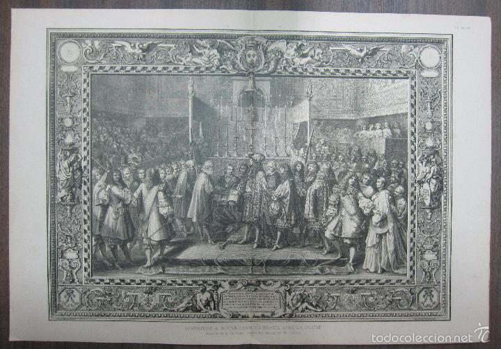 SIGNATURE A NOTRE-DAME DU TRAITÉ AVEC LA SUISSE. LEBRUN. 34,5 X 64,5 CM (Arte - Grabados - Antiguos hasta el siglo XVIII)