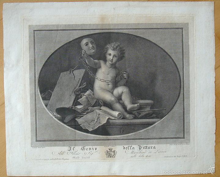 PRECIOSO GRABADO EL GENIO DELLA PITTURA. (Arte - Grabados - Antiguos hasta el siglo XVIII)