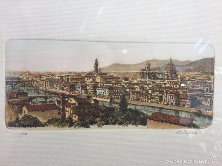 GRABADO, FIRMADO Y NUMERADO, VISTA PANORÁMICA DE FLORENCIA (Arte - Grabados - Contemporáneos siglo XX)