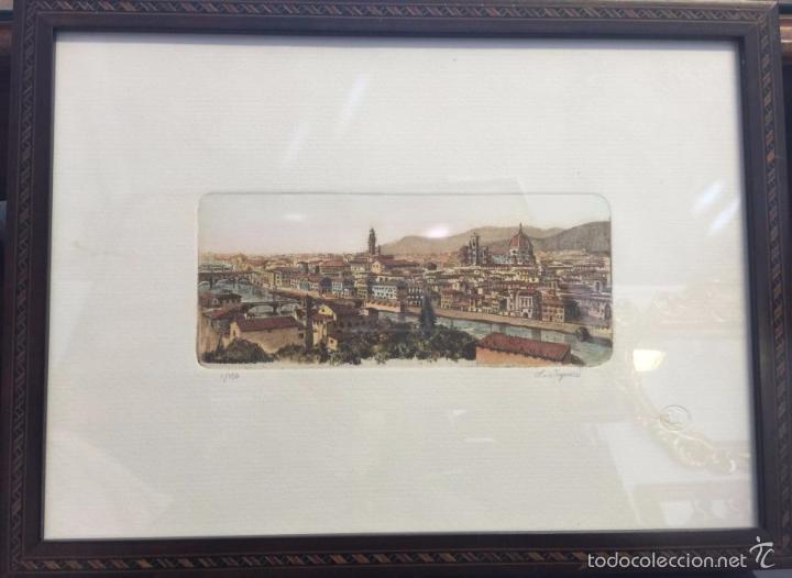 Arte: Grabado, firmado y numerado, vista panorámica de Florencia - Foto 2 - 60991103