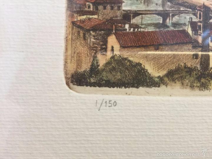 Arte: Grabado, firmado y numerado, vista panorámica de Florencia - Foto 4 - 60991103