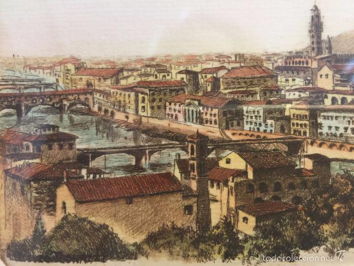 Arte: Grabado, firmado y numerado, vista panorámica de Florencia - Foto 5 - 60991103