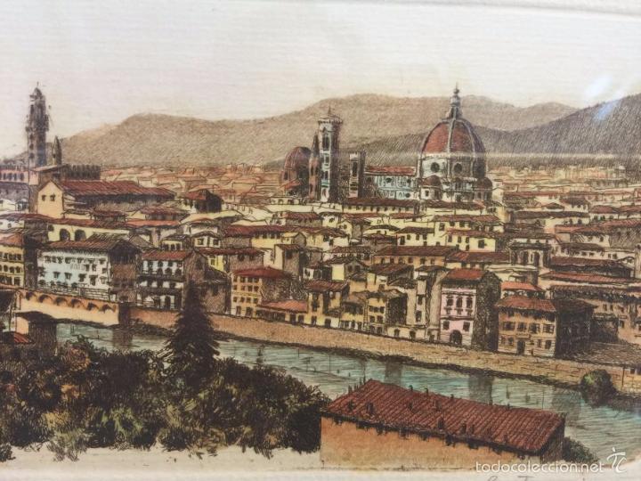 Arte: Grabado, firmado y numerado, vista panorámica de Florencia - Foto 6 - 60991103