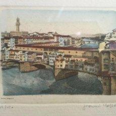 Arte: GRABADO, FIRMADO Y NUMERADO, VISTA PANORÁMICA DEL PONTE VECCHIO EN FLORENCIA. Lote 60991467