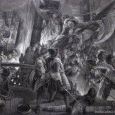 Arte: GRABADO AL ACERO 1860, FRANÇOIS-AUGUSTE BIARD, COMBATE NAVAL DE TEXEL (1694), INFOLIO. JEAN BART. Lote 61060391
