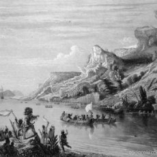 Arte: GRABADO AL ACERO 1860, THÉODORE GUDIN, JACQUES CARTIER REMONTANDO EL RÍO SAN LORENZO (1535), CANADÁ. Lote 61100187