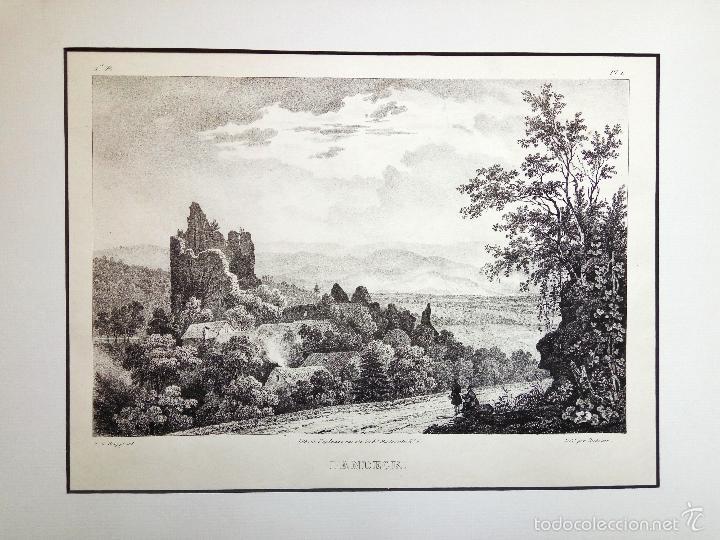 BONITO PAISAJE, RUINAS DE UN CASTILLO MEDIEVAL. LANDECK (Arte - Grabados - Modernos siglo XIX)