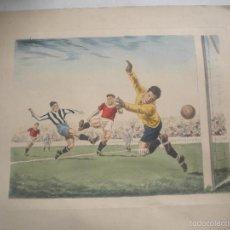 Arte: GRABADO COLOREADO DE FUTBOL DE 1920'S-. Lote 61341799
