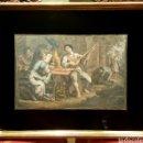Arte: 'MÚSICOS EN LA TABERNA'. GRABADO FRANCÉS ILUMINADO, S. XIX. CON MARCO DORADO.. Lote 61586394