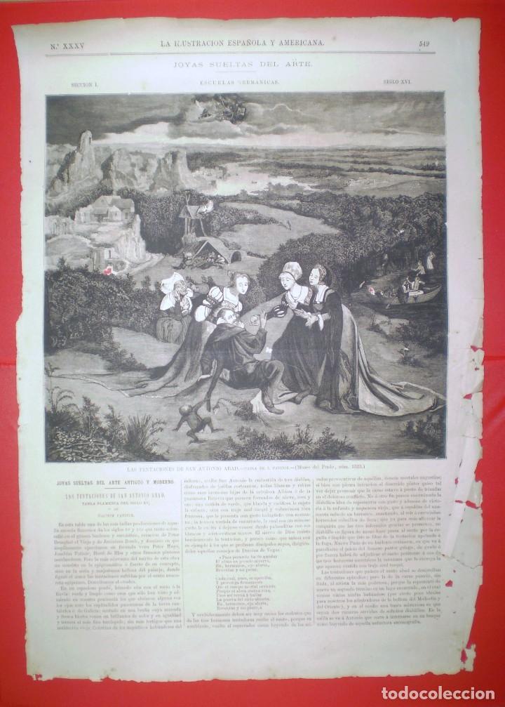GRABADO - LAS TENTACIONES DE SAN ANTONIO ABAD - LA ILUSTRACION ESPAÑOLA Y AMERICANA. (Arte - Grabados - Modernos siglo XIX)