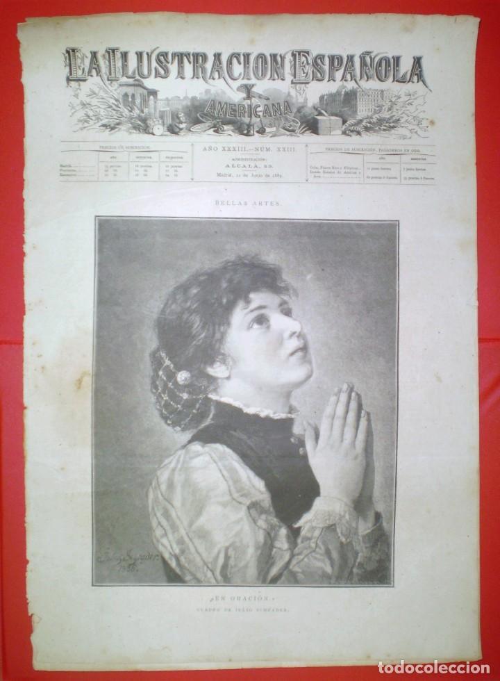 GRABADO - EN ORACION - LA ILUSTRACION ESPAÑOLA Y AMERICANA. (Arte - Grabados - Modernos siglo XIX)