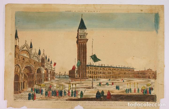 VENECIA, VISTA ÓPTICA AÑO 1766. 28,5X42 CM. (Arte - Grabados - Antiguos hasta el siglo XVIII)
