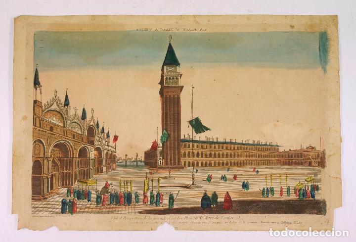 Arte: VENECIA, VISTA ÓPTICA AÑO 1766. 28,5X42 CM. - Foto 2 - 62372028