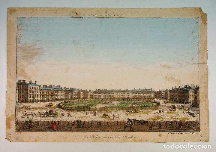 LONDRES, VIIE DE LA PLACE DE GROSVERNOR, S.XVIII. 28X41,5 CM. (Arte - Grabados - Antiguos hasta el siglo XVIII)