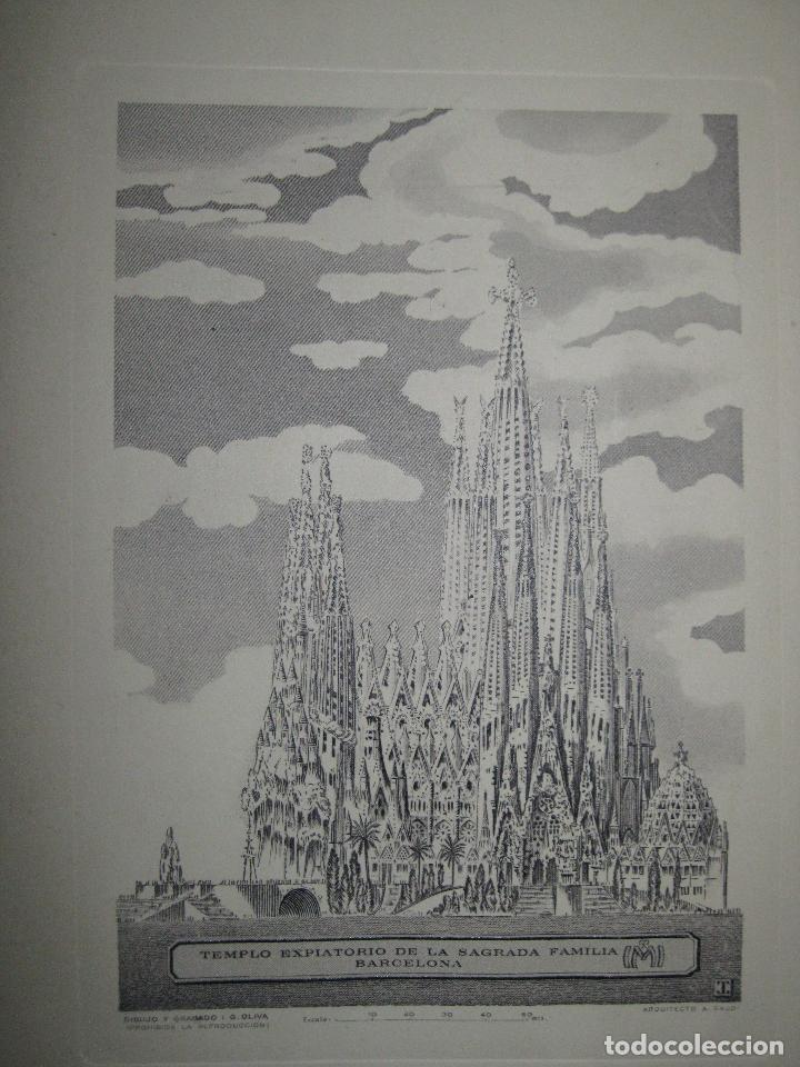CATEDRAL SAGRADA FAMILIA BARCELONA PLANCHA GRABADO 1951 I.G. OLIVA TIRADA ESPECIAL ANYAL DE 1971 (Arte - Grabados - Contemporáneos siglo XX)