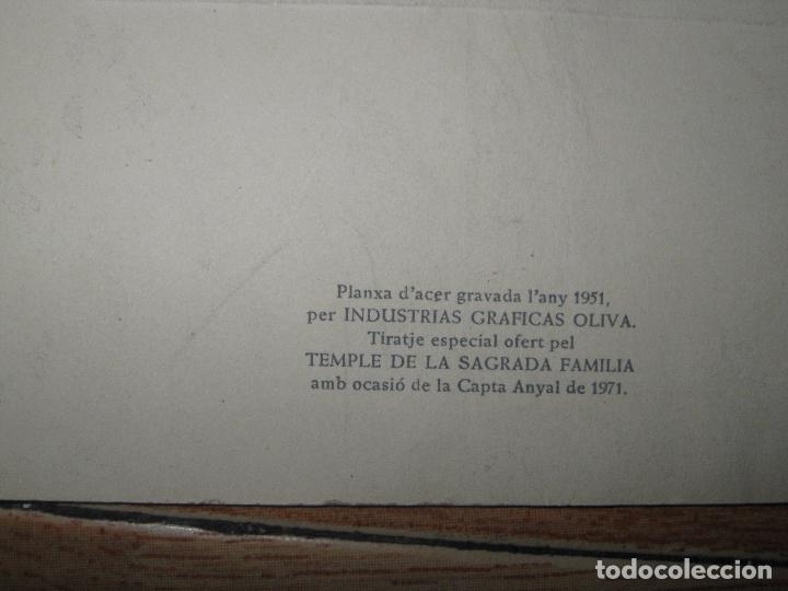 Arte: catedral SAGRADA FAMILIA BARCELONA PLANCHA grabado 1951 I.G. OLIVA TIRADA ESPECIAL ANYAL DE 1971 - Foto 5 - 46965415