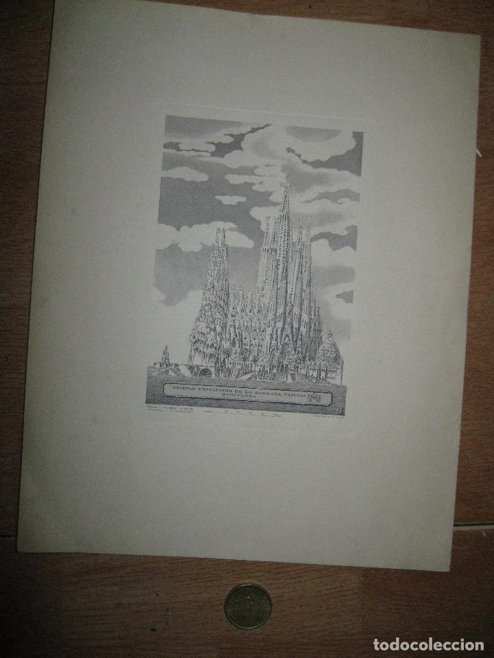 Arte: catedral SAGRADA FAMILIA BARCELONA PLANCHA grabado 1951 I.G. OLIVA TIRADA ESPECIAL ANYAL DE 1971 - Foto 6 - 46965415