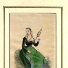 Arte: GRABADO MUJER EN LOS ALREDEDORES DE VIGO ( PONTEVEDRA ) ( HILANDERA ) DUVERGER. CLERMAN. 1847. Lote 63083056