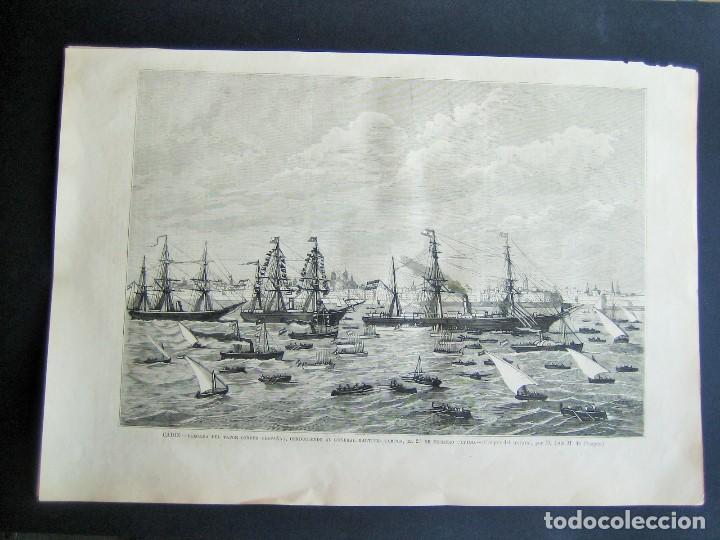CADIZ-LLEGADA DEL VAPOR CORREO ESPAÑA- (Arte - Grabados - Antiguos hasta el siglo XVIII)