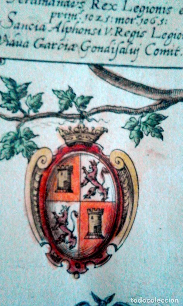 Arte: Grabado antiguo Aragón árbol genealógico Reyes aragoneses año 1650 con certificado autenticidad . - Foto 2 - 63807043