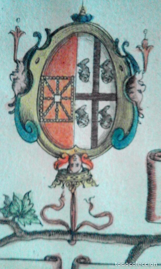Arte: Grabado antiguo Aragón árbol genealógico Reyes aragoneses año 1650 con certificado autenticidad . - Foto 3 - 63807043