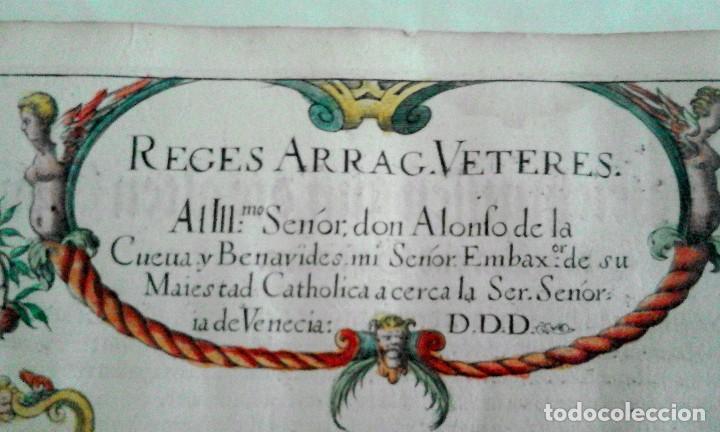 Arte: Grabado antiguo Aragón árbol genealógico Reyes aragoneses año 1650 con certificado autenticidad . - Foto 4 - 63807043