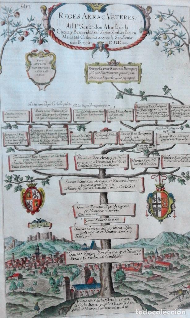 Arte: Grabado antiguo Aragón árbol genealógico Reyes aragoneses año 1650 con certificado autenticidad . - Foto 6 - 63807043