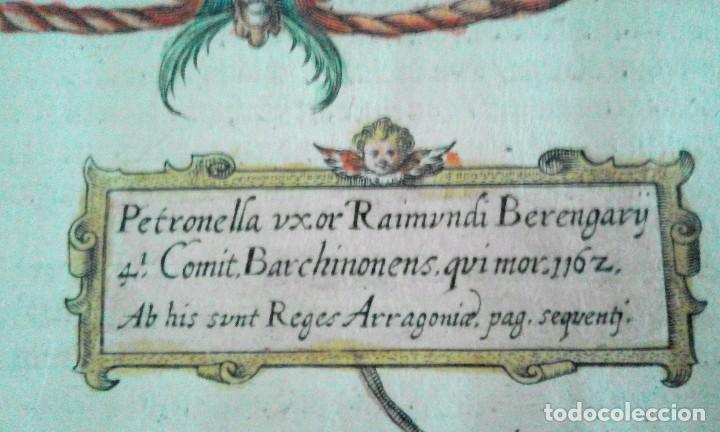 Arte: Grabado antiguo Aragón árbol genealógico Reyes aragoneses año 1650 con certificado autenticidad . - Foto 7 - 63807043
