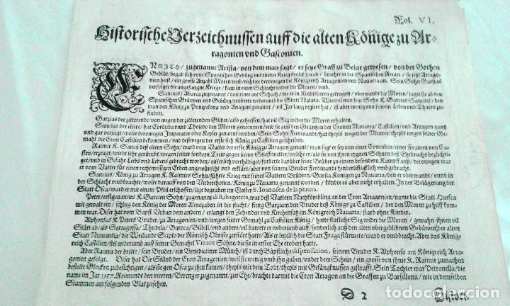 Arte: Grabado antiguo Aragón árbol genealógico Reyes aragoneses año 1650 con certificado autenticidad . - Foto 8 - 63807043