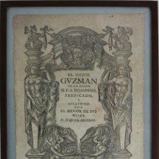Arte: I2-010 GRABADO, FRONTISPICIO DE 'EL MEJOR GVZMAN DE LOS BUENOS(...)' DE 1717. Lote 44296523