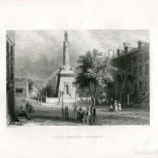Arte: E.E.U.U. BATTLE MONUMENT, BALTIMORE GRABADO POR H. GRIFFITHS, 1840. Lote 64296087