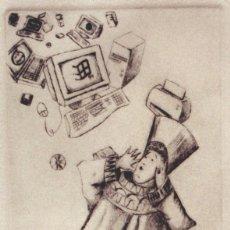 Arte: FIN DE MILENIO. GRABADO (PUNTA SECA) SOBRE PAPEL. 28 X 38 CM. OBRA ORIGINAL FIRMADA.. Lote 64475835