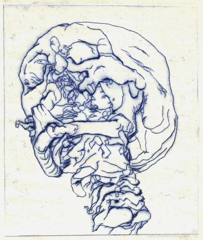 CRÁNEO ROTO. GRABADO (PUNTA SECA) SOBRE PAPEL. 20 X 29 CM. OBRA ORIGINAL FIRMADA. (Arte - Grabados - Contemporáneos siglo XX)