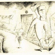 Arte: INFANCIA. GRABADO (PUNTA SECA) SOBRE PAPEL. 38 X 28 CM. OBRA ORIGINAL FIRMADA.. Lote 64476315