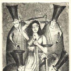 Art: JUSTICIA PARA TODOS. GRABADO (AGUAFUERTE) SOBRE PAPEL. 28 X 38 CM. OBRA ORIGINAL FIRMADA.. Lote 64478843