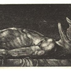 Arte: CABRÓN MUERTO. GRABADO (AGUAFUERTE) SOBRE PAPEL. 28 X 19 CM. OBRA ORIGINAL FIRMADA.. Lote 64479351