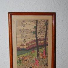 Arte: GRABADO COLOREADO A LA ACUARELA - HARRY ELIOTT - CACERÍA - ESCENA DE CAZA - PP. S.XX. Lote 64496491