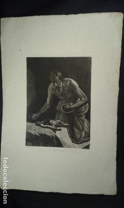 GRABADO AGUAFUERTE. EUGENIO DE LEMUS Y OLMO, TRISTÁN. EL GRABADOR AL AGUAFUERTE. AÑO 1876. (Arte - Grabados - Modernos siglo XIX)