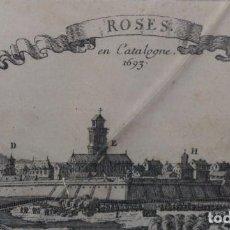 Arte: ROSES, EN CATALOGNE 1693. GRABADO CON SELLO DE LA CALCOGRAFIA LOUVRE, SEBASTIEN PONTAULT BEAULIEU. Lote 65681546