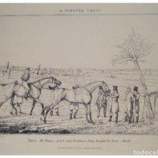 Arte: MAGNÍFICO GRABADO DE CARRERA DE CABALLOS, 1827, S&J FULLER. INGLATERRA.. Lote 98226222