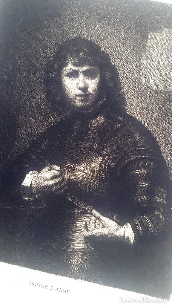 REMBRANT - HOMME D'ARME - ED. L'ART - GRABADO FERD. LEENHOFF (Arte - Grabados - Modernos siglo XIX)