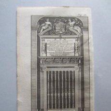 Arte: 1707-PUERTA MAUSOLEO REYES DEL ESCORIAL.MADRID.GRABADO ORIGINAL DE JUAN ALVAREZ COLMENAR. Lote 66153382