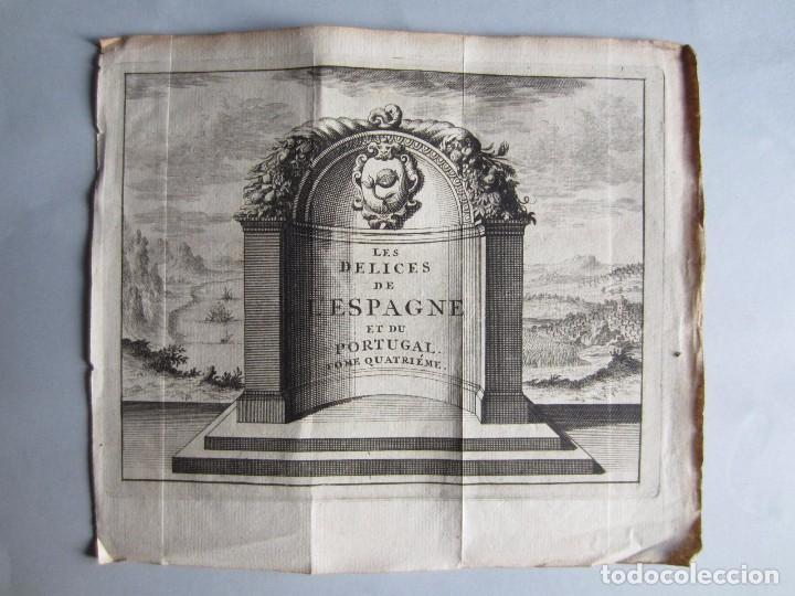 1707-PORTADA LIBRO DELICES DE ESPAÑA Y PORTUGAL.GRABADO ORIGINAL DE JUAN ALVAREZ COLMENAR (Arte - Grabados - Antiguos hasta el siglo XVIII)