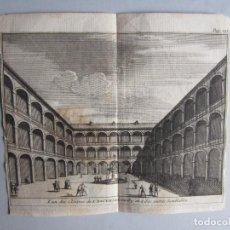 Arte: 1707-CLAUSTRO MONASTERIO DEL ESCORIAL MADRID.DELICES ESPAÑA.GRABADO ORIGINAL JUAN ALVAREZ COLMENAR. Lote 66155438
