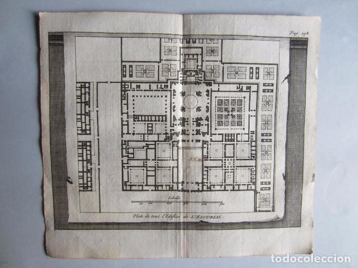 1707-PLANO MONASTERIO DEL ESCORIAL MADRID.DELICES ESPAÑA.GRABADO ORIGINAL JUAN ALVAREZ COLMENAR (Arte - Grabados - Antiguos hasta el siglo XVIII)