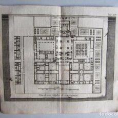 Arte: 1707-PLANO MONASTERIO DEL ESCORIAL MADRID.DELICES ESPAÑA.GRABADO ORIGINAL JUAN ALVAREZ COLMENAR. Lote 66155530