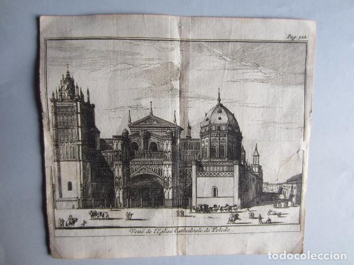 1707-VISTA CATEDRAL DE TOLEDO.DELICES ESPAÑA.GRABADO ORIGINAL JUAN ALVAREZ COLMENAR (Arte - Grabados - Antiguos hasta el siglo XVIII)