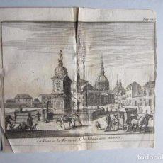 Arte: 1707-PLAZA FUENTE DE LA CEBADA MADRID.DELICES ESPAÑA.GRABADO ORIGINAL JUAN ALVAREZ COLMENAR. Lote 66156338